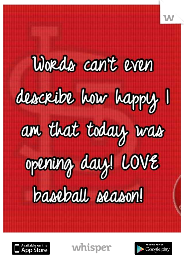 Words can't even describe how happy I am that today was opening day! LOVE baseball season!