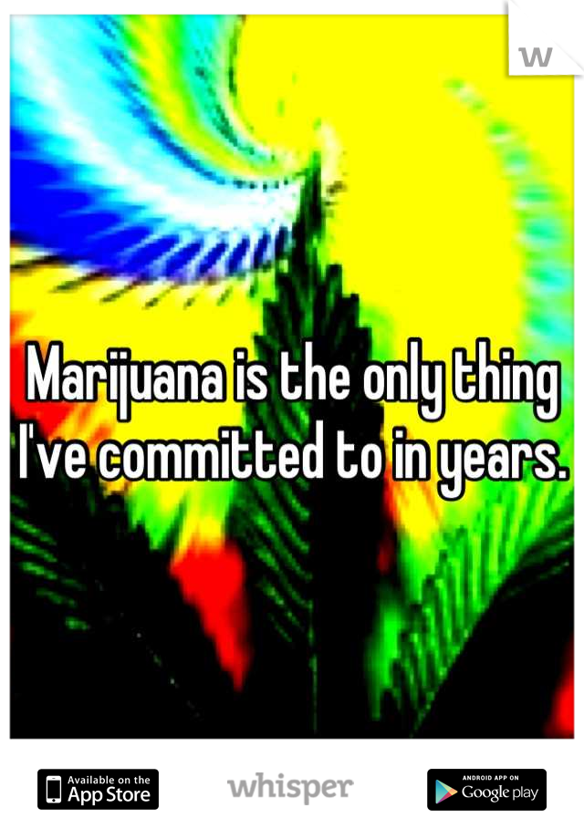 Marijuana is the only thing I've committed to in years.