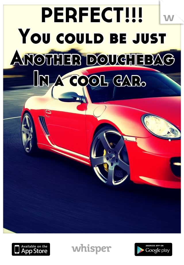 PERFECT!!! You could be just Another douchebag  In a cool car.