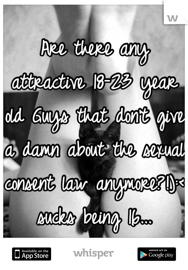 Are there any attractive 18-23 year old Guys that don't give a damn about the sexual consent law anymore?!):< sucks being 16...