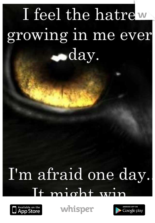 I feel the hatred growing in me every day.       I'm afraid one day... It might win.