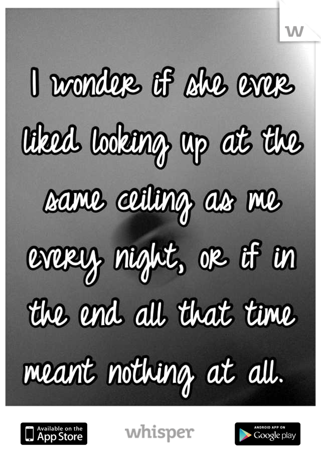 I wonder if she ever liked looking up at the same ceiling as me every night, or if in the end all that time meant nothing at all.