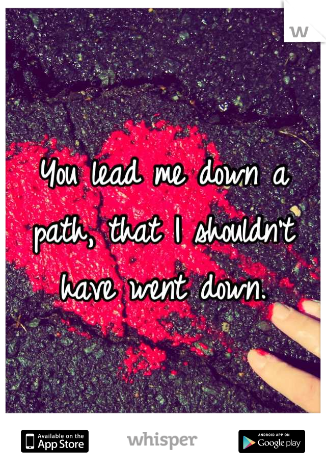 You lead me down a path, that I shouldn't have went down.