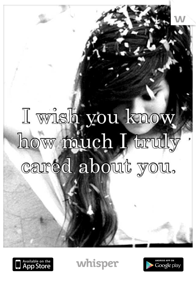 I wish you know how much I truly cared about you.
