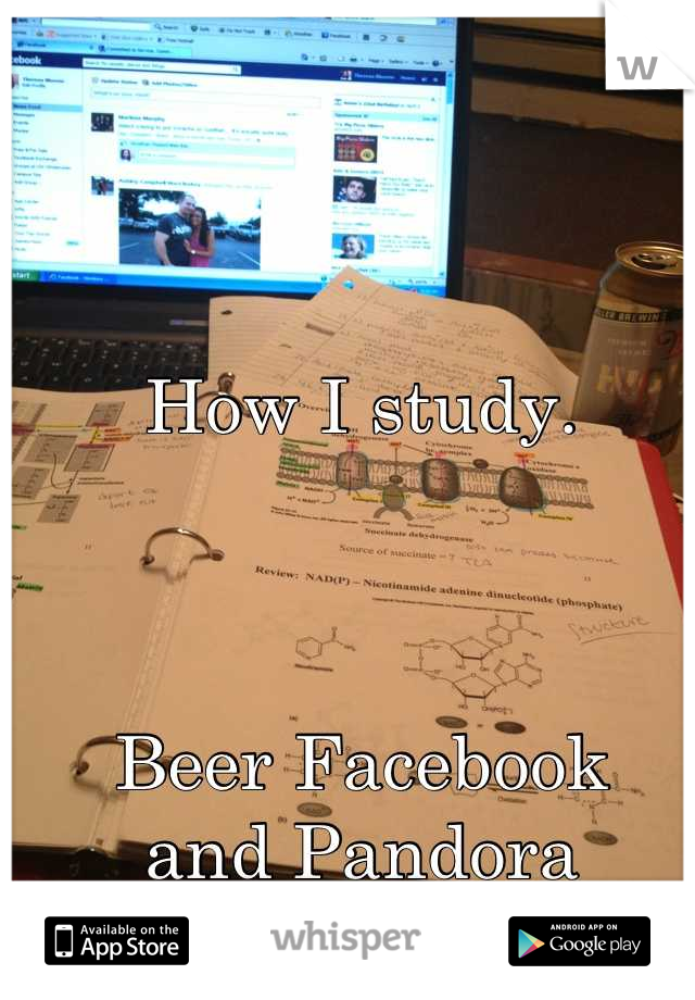 How I study.    Beer Facebook  and Pandora  Keys to success. ;)