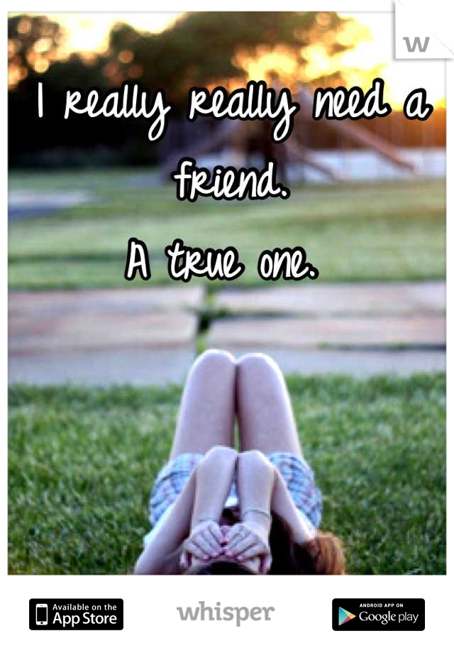 I really really need a friend.  A true one.