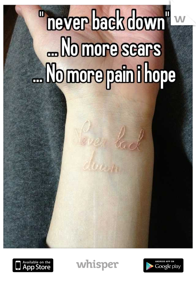 """"""" never back down"""" ... No more scars ... No more pain i hope"""