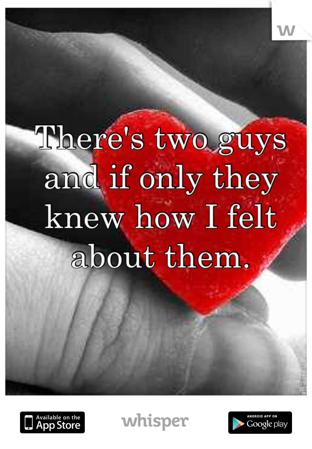 There's two guys and if only they knew how I felt about them.
