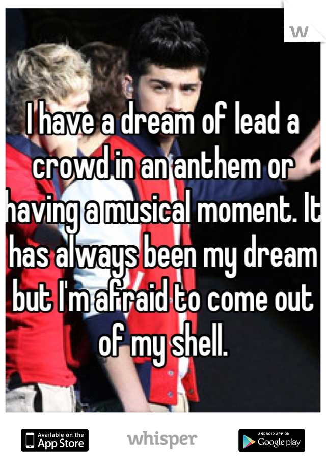 I have a dream of lead a crowd in an anthem or having a musical moment. It has always been my dream but I'm afraid to come out of my shell.