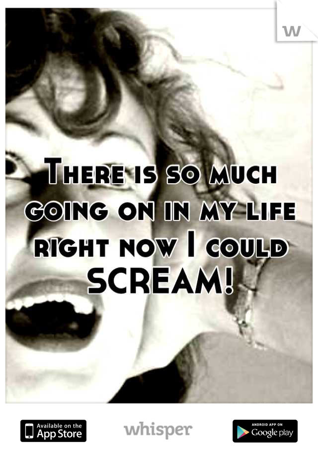 There is so much going on in my life right now I could SCREAM!