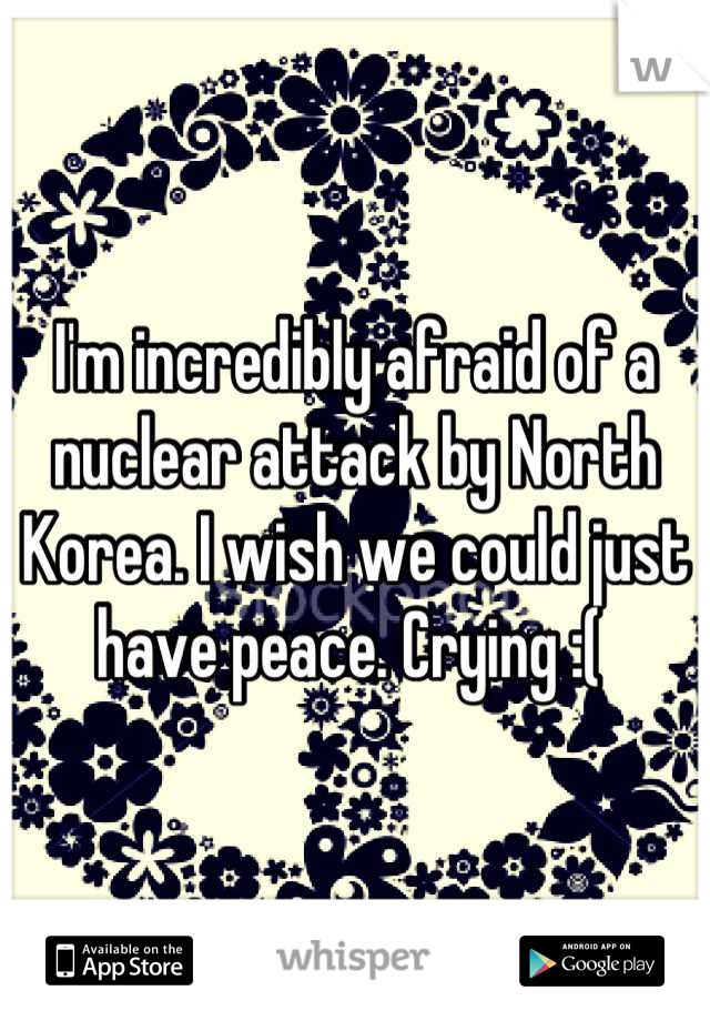 I'm incredibly afraid of a nuclear attack by North Korea. I wish we could just have peace. Crying :(
