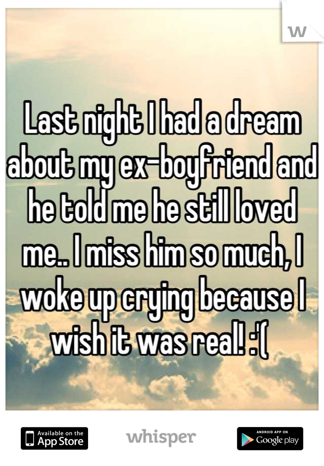 Last night I had a dream about my ex-boyfriend and he told me he still loved me.. I miss him so much, I woke up crying because I wish it was real! :'(