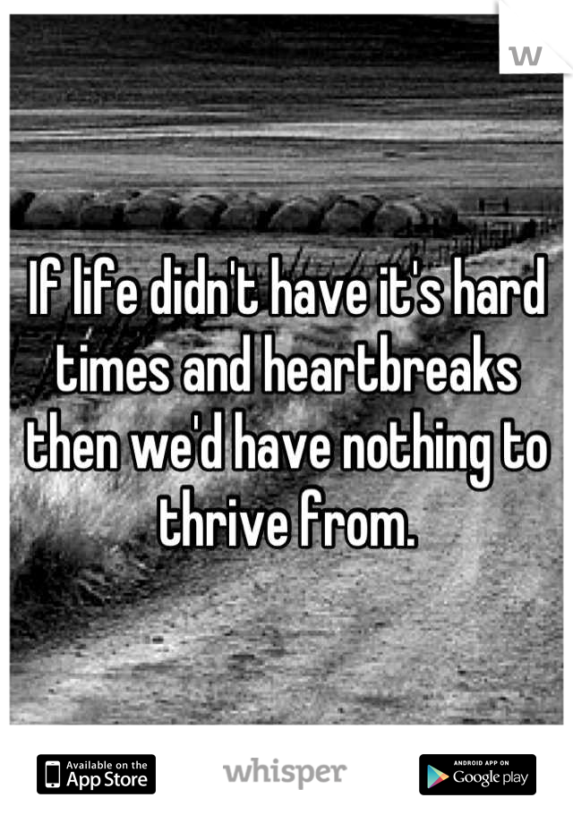 If life didn't have it's hard times and heartbreaks then we'd have nothing to thrive from.