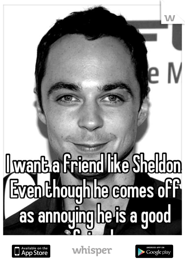 I want a friend like Sheldon. Even though he comes off as annoying he is a good friend