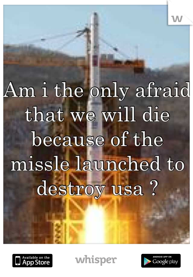 Am i the only afraid that we will die because of the missle launched to destroy usa ?
