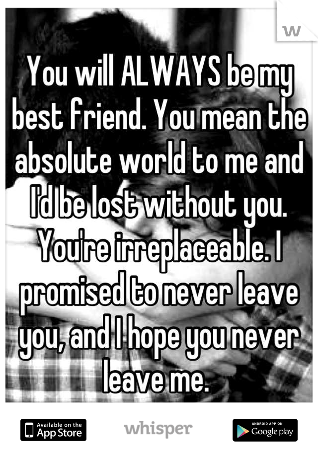 You will ALWAYS be my best friend. You mean the absolute world to me and I'd be lost without you. You're irreplaceable. I promised to never leave you, and I hope you never leave me.