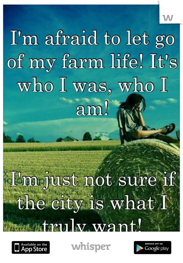I'm afraid to let go of my farm life! It's who I was, who I am!    I'm just not sure if the city is what I truly want!