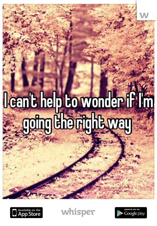 I can't help to wonder if I'm going the right way