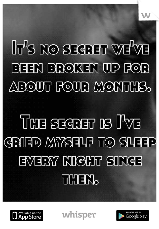 It's no secret we've been broken up for about four months.  The secret is I've cried myself to sleep every night since then.