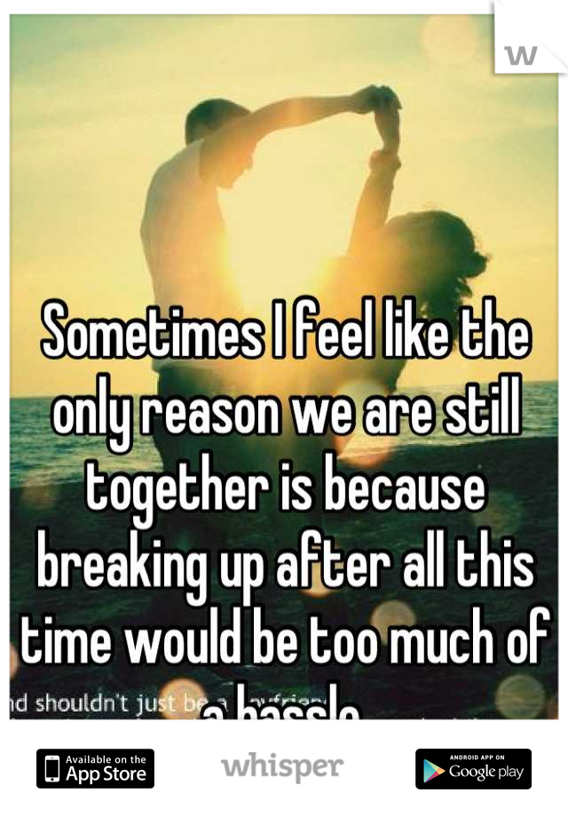 Sometimes I feel like the only reason we are still together is because breaking up after all this time would be too much of a hassle.