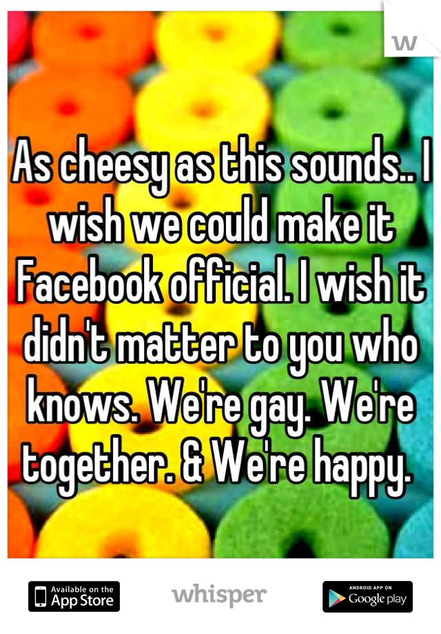 As cheesy as this sounds.. I wish we could make it Facebook official. I wish it didn't matter to you who knows. We're gay. We're together. & We're happy.