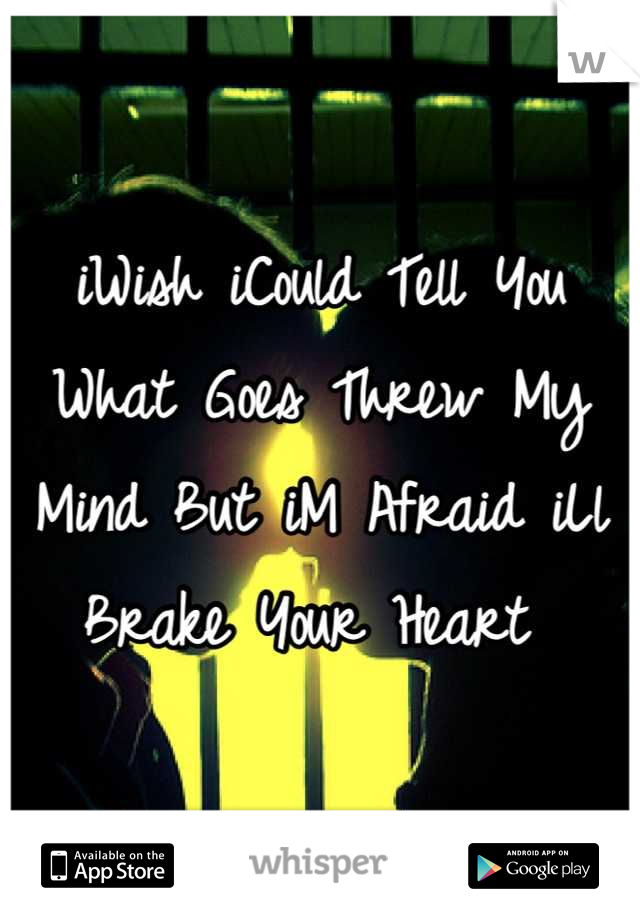 iWish iCould Tell You What Goes Threw My Mind But iM Afraid iLl Brake Your Heart