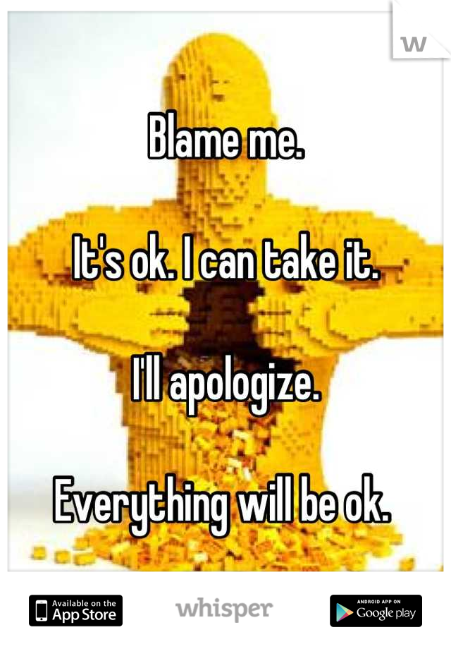Blame me.   It's ok. I can take it.   I'll apologize.   Everything will be ok.
