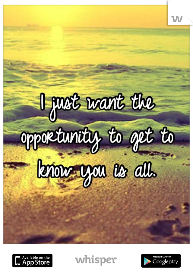 I just want the opportunity to get to know you is all.