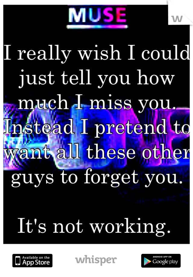 I really wish I could just tell you how much I miss you. Instead I pretend to want all these other guys to forget you.   It's not working.