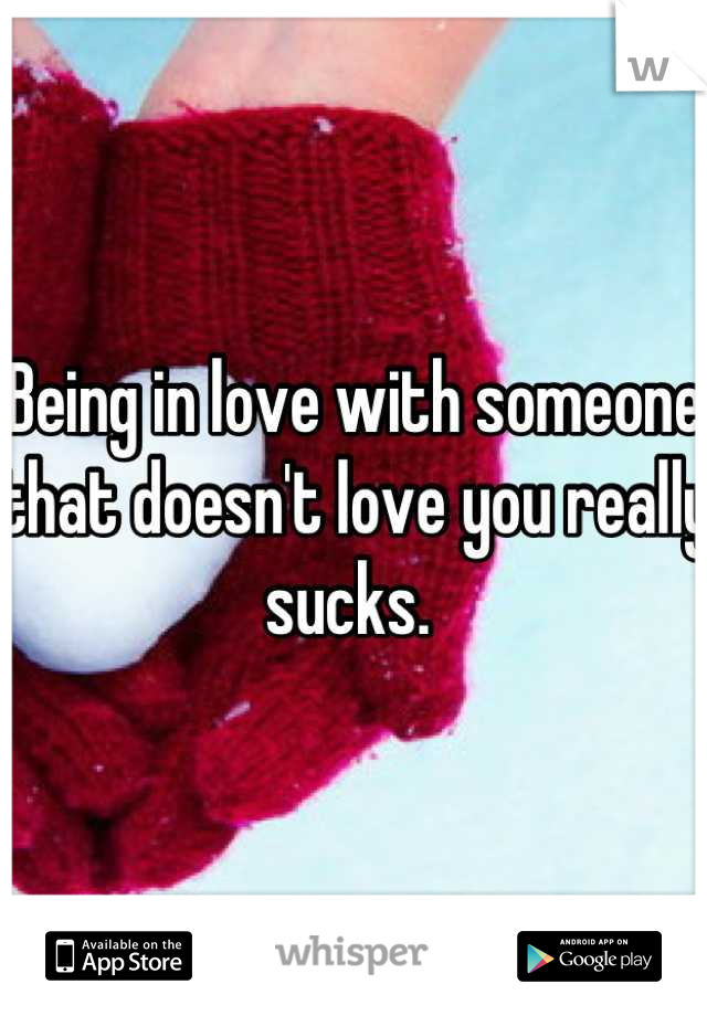 Being in love with someone that doesn't love you really sucks.