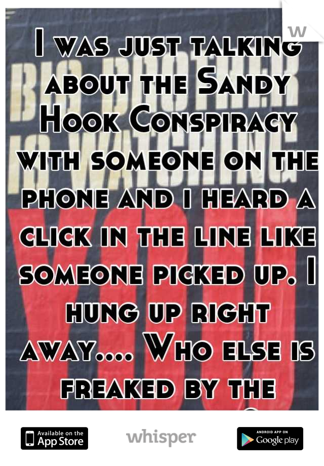 I was just talking about the Sandy Hook Conspiracy with someone on the phone and i heard a click in the line like someone picked up. I hung up right away.... Who else is freaked by the government?