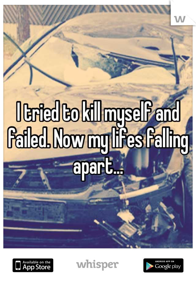 I tried to kill myself and failed. Now my lifes falling apart...