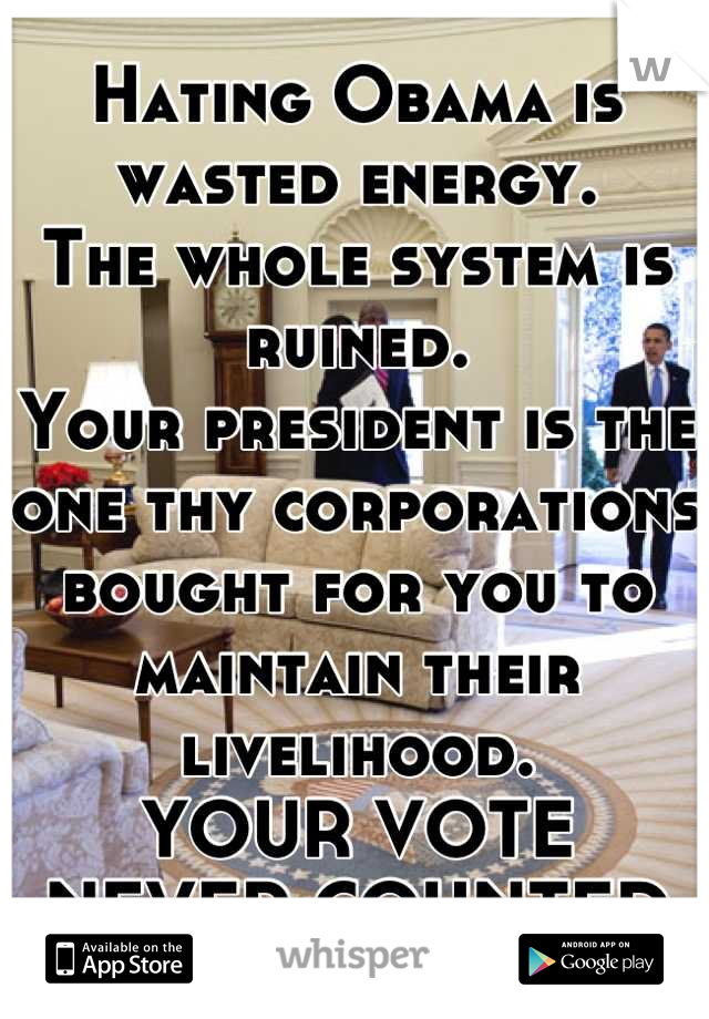 Hating Obama is wasted energy. The whole system is ruined. Your president is the one thy corporations bought for you to maintain their livelihood. YOUR VOTE NEVER COUNTED