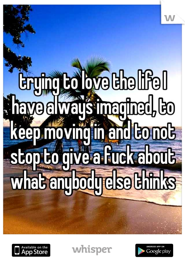 trying to love the life I have always imagined, to keep moving in and to not stop to give a fuck about what anybody else thinks