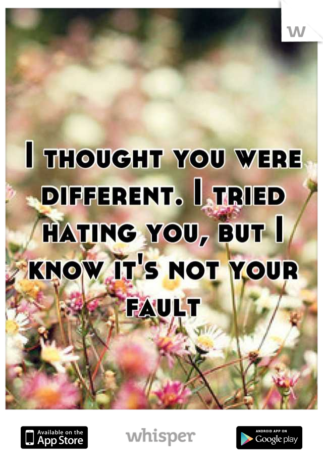 I thought you were different. I tried hating you, but I know it's not your fault