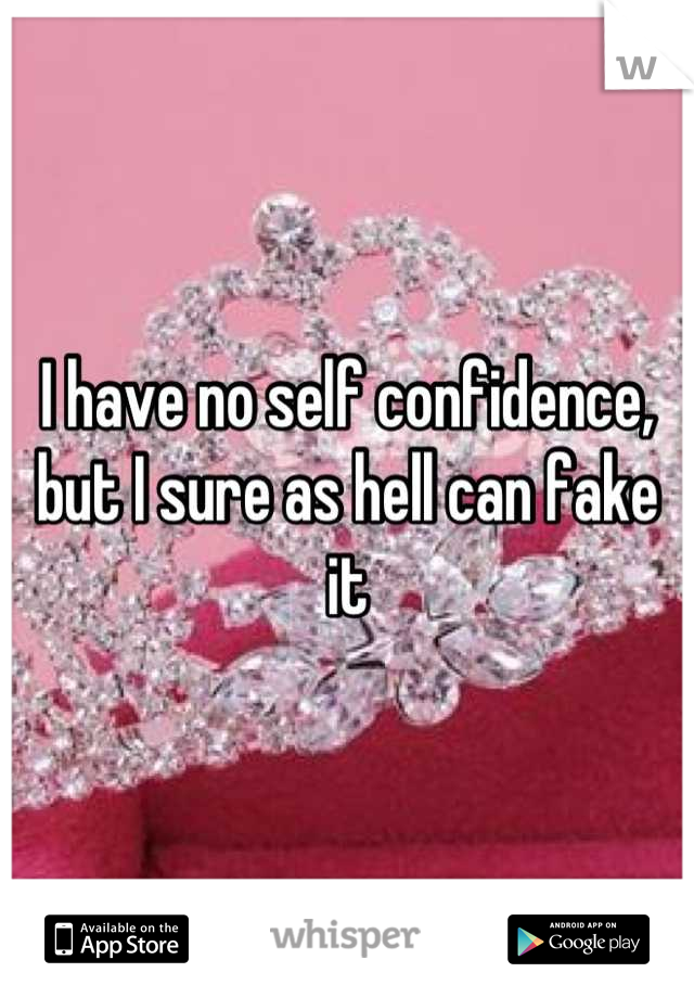 I have no self confidence, but I sure as hell can fake it