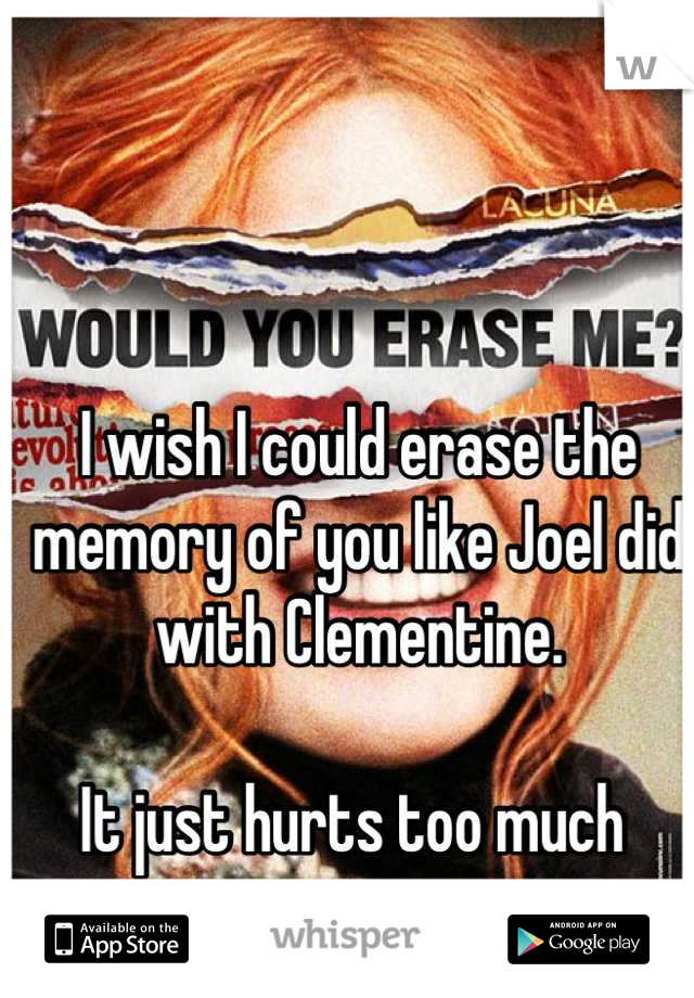 I wish I could erase the memory of you like Joel did with Clementine.   It just hurts too much