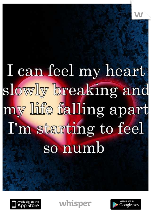 I can feel my heart slowly breaking and my life falling apart I'm starting to feel so numb