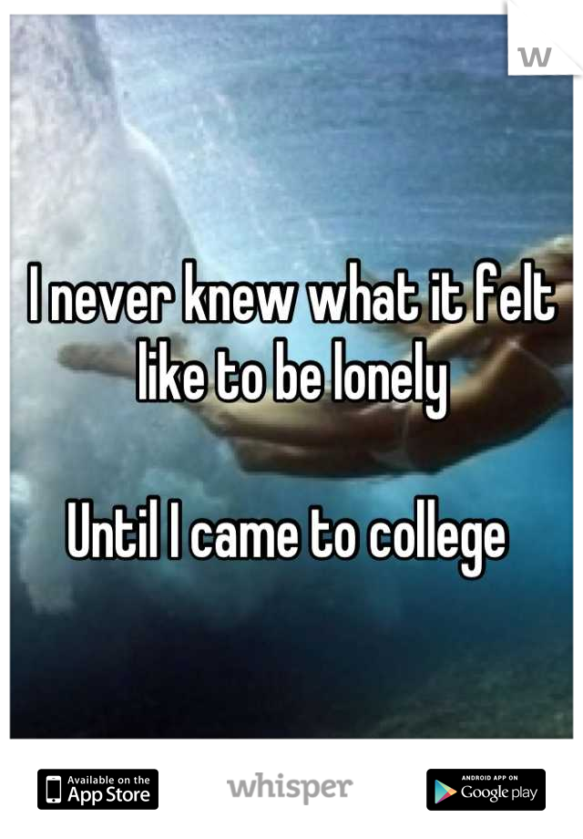 I never knew what it felt like to be lonely  Until I came to college