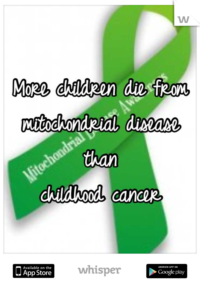 More children die from mitochondrial disease  than childhood cancer