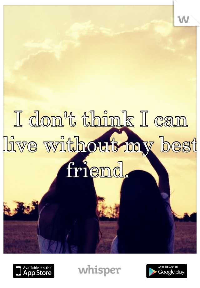I don't think I can live without my best friend.