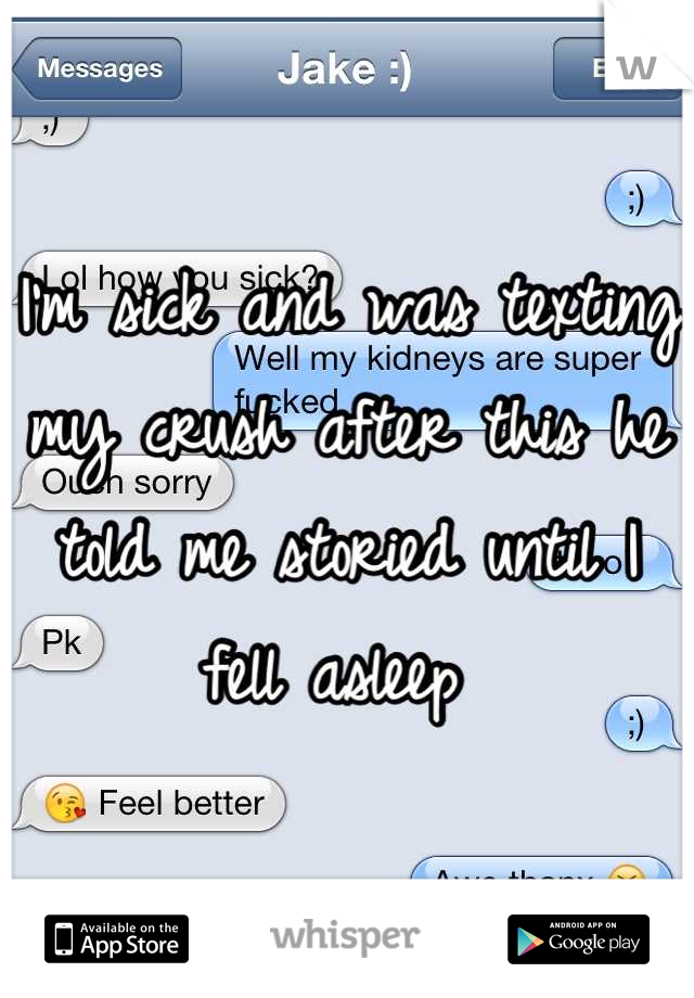 I'm sick and was texting my crush after this he told me storied until I fell asleep