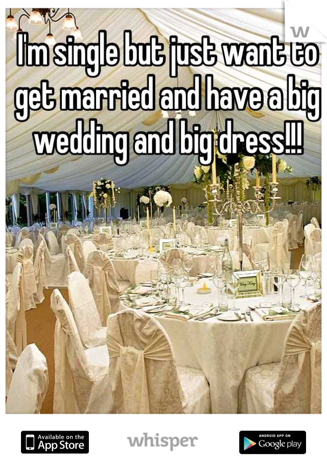 I'm single but just want to get married and have a big wedding and big dress!!!