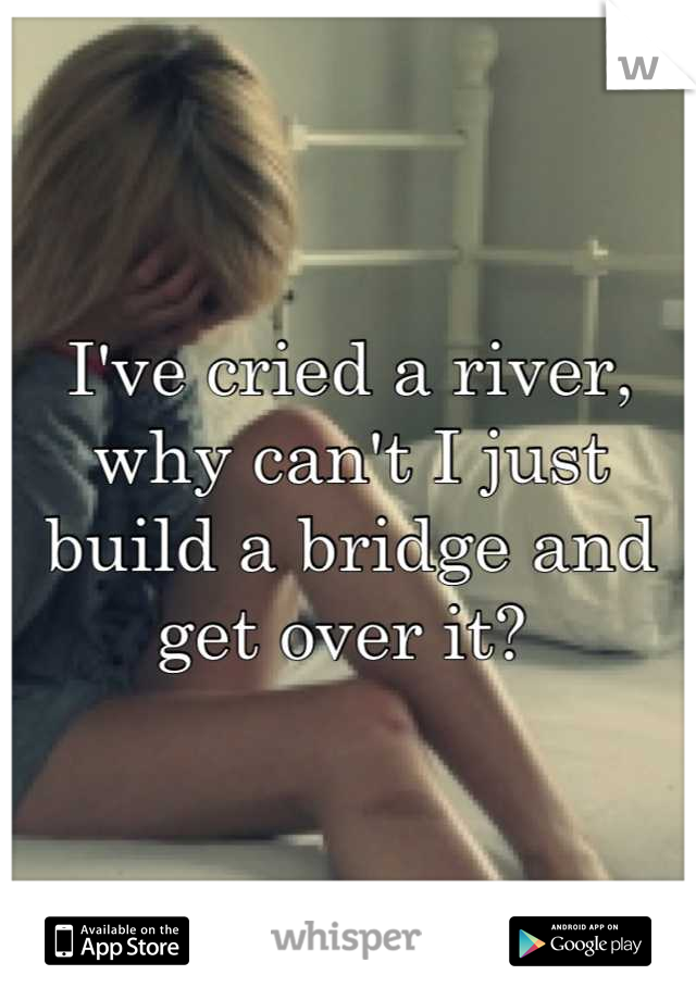 I've cried a river, why can't I just build a bridge and get over it?