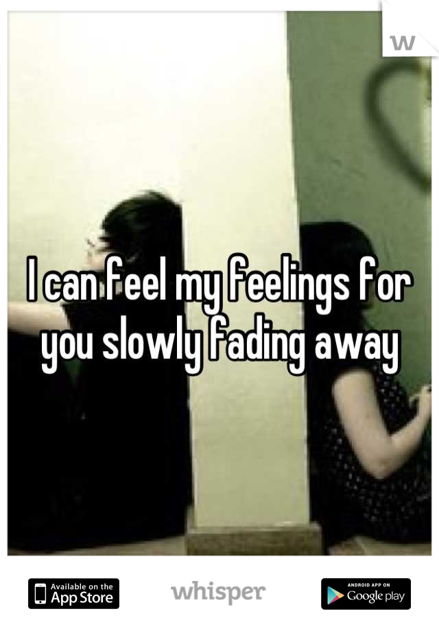 I can feel my feelings for you slowly fading away