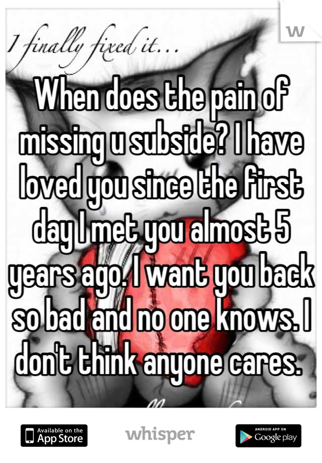 When does the pain of missing u subside? I have loved you since the first day I met you almost 5 years ago. I want you back so bad and no one knows. I don't think anyone cares.