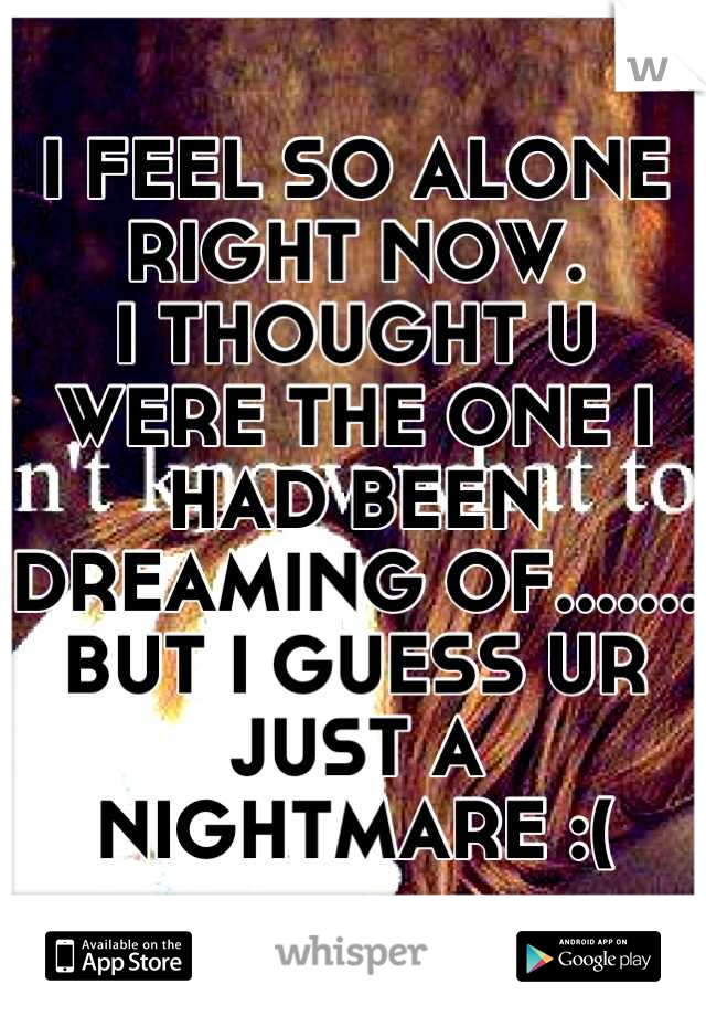 I FEEL SO ALONE RIGHT NOW.  I THOUGHT U WERE THE ONE I HAD BEEN DREAMING OF....... BUT I GUESS UR JUST A NIGHTMARE :(