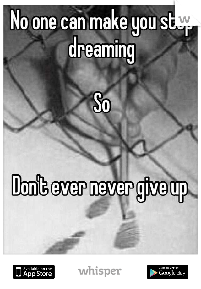 No one can make you stop dreaming   So    Don't ever never give up