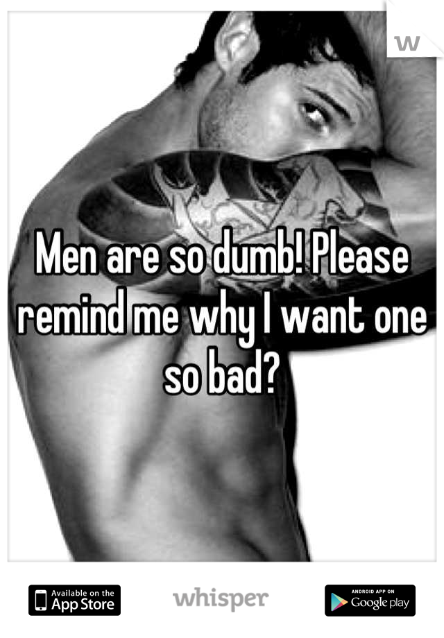Men are so dumb! Please remind me why I want one so bad?