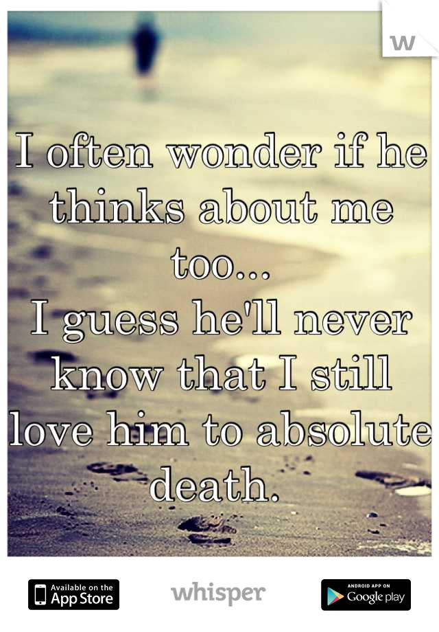I often wonder if he thinks about me too... I guess he'll never know that I still love him to absolute death.